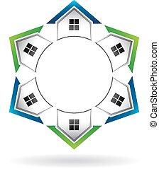 maisons, cercle, étalage