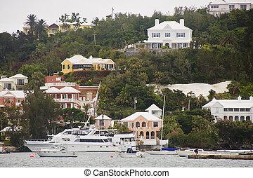 maisons, coloré, yachts, bermudes, sous, blanc