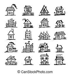 maisons, croquis, art, ton, conception