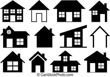 maisons, différent, ensemble