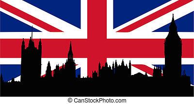 maisons, drapeau, royaume-uni, parliamen
