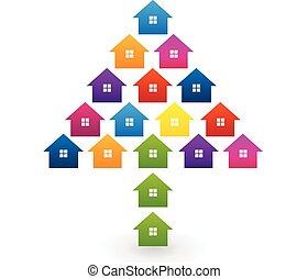 maisons, forme, arbre, coloré, logo