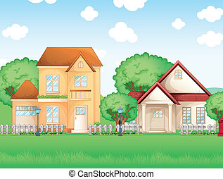 maisons, grand, deux