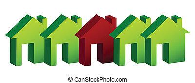 maisons, illustration, rang, conception