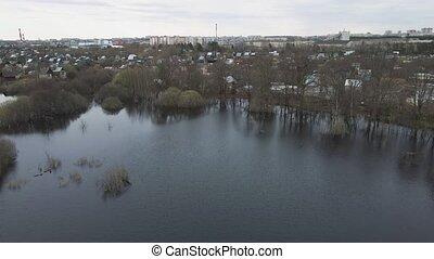 maisons, inondation, printemps, vue, jardin, aérien, inondé, distance.