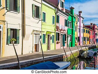 maisons, ligne, burano, coloré