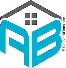 maisons, logo, ab