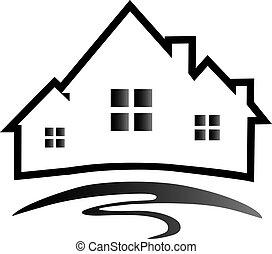 maisons, logo, silhouette