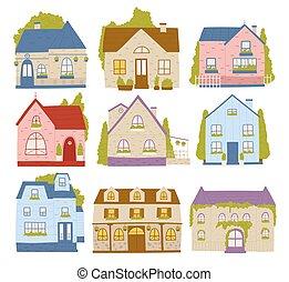 maisons, mignon, cabine, bâtiments, ville, ensemble, coloré, petite maison, maisons, dessin animé, résidence, voisinage