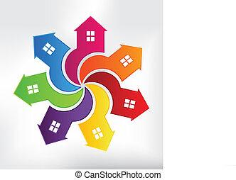maisons, moderne, logo
