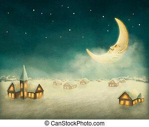 maisons, noël, hiver