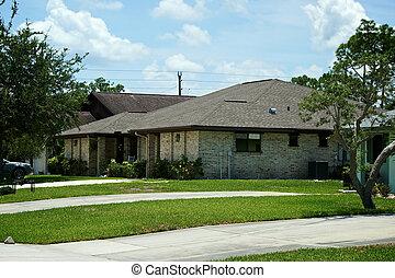 maisons, pelouse, niveau, floride, allées, une