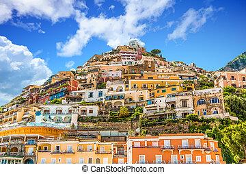 maisons, positano, colline, coloré