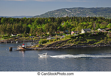 maisons, premier plan, oslofjord, holmenkollen, arrière-plan., rocher, blanc, bateau
