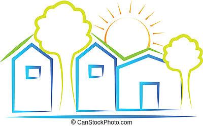 maisons, soleil, arbre, logo