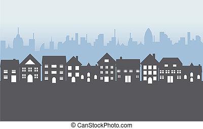 maisons, suburbain, nuit