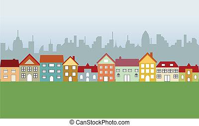 maisons, suburbain, ville