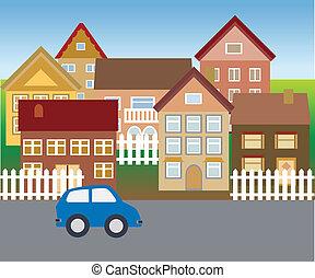 maisons, suburbain, voisinage, calme