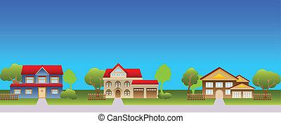 maisons, suburbain, voisinage