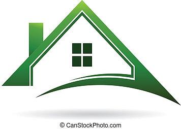 maisons, swoosh., vecteur, vert, icône