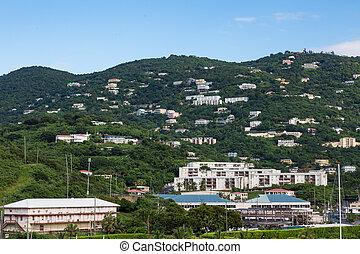 maisons, thomas, collines, rue, recours, vert