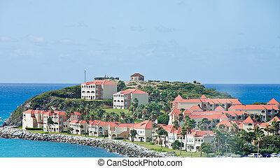 maisons, toits, côtier, carreau, stuc, rouges