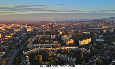 maisons, toits, ukraine, zakarpattya, ville, uzhgorod, paysage