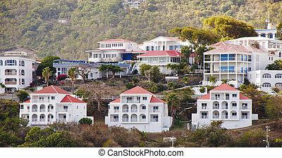 maisons, toits, vacances, coteau, blanc rouge