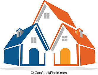 maisons, vecteur, groupe, logo