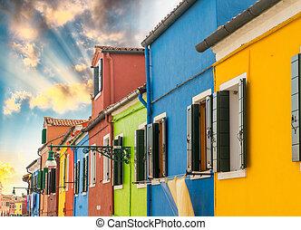 maisons, venise, burano, -, italie, coloré
