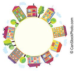 maisons, ville, cercle, signe