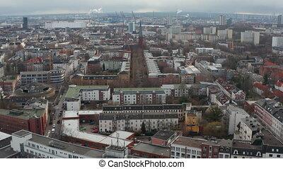 maisons, ville, vieux, centre, vue, hambourg, église, aérien, voisinages, résidentiel