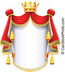 majestueux, couronne, royal, or, manteau