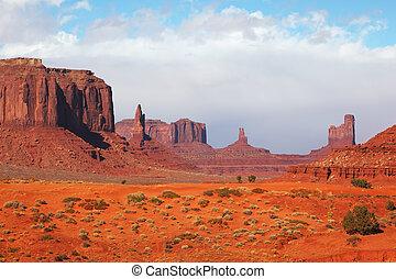 majestueux, vallée, monument
