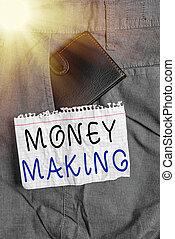 making., maîtrise stress, photo, devant, projection, note, revenus, intérieur, business, bon, petit, profit, écriture, argent poche, portefeuille, paper., showcasing, notation, investissement, trouser, temps libre