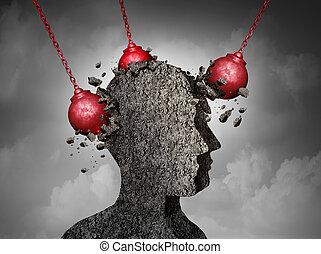 mal tête, concept, douloureux