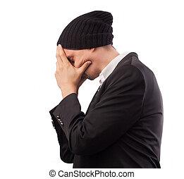 mal tête, décider, jeune, fatigué, sur, couverture, isolé, surmenage, complet, élégant, problème, usure, fond, douleur, homme affaires, visage blanc, mains, beau