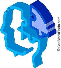 mal tête, isométrique, puzzle, icône, détail, homme, silhouette