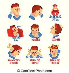 mal tête, migraine, ensemble, caractère, maladie, malheureux, souffrance, vecteur, illustration, malade, vertige, tête, homme