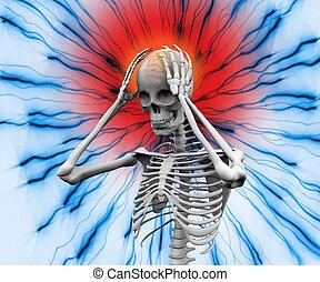 mal tête, numérique, avoir, squelette