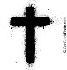 malade, croix, pulvérisation, vecteur, graffiti, encre