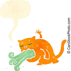 malade, dessin animé, chat