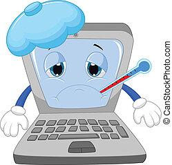 malade, dessin animé, ordinateur portable