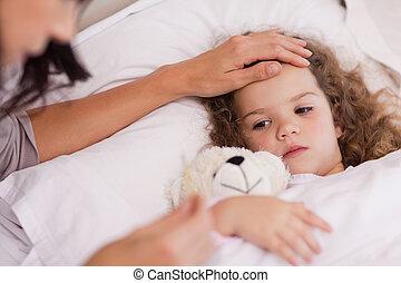 malade, elle, fille, mère, soin prenant