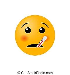malade, illustration, isolé, vecteur, thermomètre, arrière-plan., emoticon, blanc