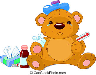 malade, ours peluche