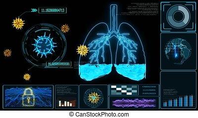 malades, pulmonaire, souffle, anormal, moniteur, ou, difficulté, oedème, causé, fluide, manque, dû, condition, respiration, futuriste, alveoli., oxygène, résulter