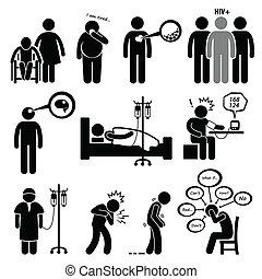 maladie, commun, maladies