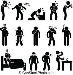 maladie, maladie, symptôme, maladie