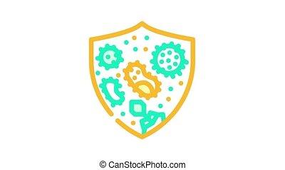 maladie, symbole, couleur, contre, protection, animation, icône